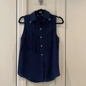 Navy Blouse with Fringe Detail